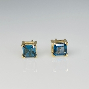 14K Yellow Gold Asscher Cut Blue Topaz Stud Earrings 1.45ct