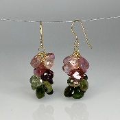 Pink and Green Tourmaline Multidrop Earrings
