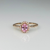 14K Rose Gold Pink Sapphire Diamond Ring 0.65ct/0.16ct