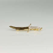 14K Yellow Gold Diamond Dagger Pin 0.12ct