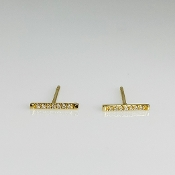 14K Yellow Gold Diamond Bar Stud Earrings 0.08ct