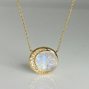 14K Yellow Gold Rainbow Moonstone Moon Face Diamond Necklace