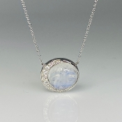 14K White Gold Rainbow Moonstone Moon Face Diamond Necklace