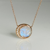 14K Rose Gold Rainbow Moonstone Moon Face Diamond Necklace
