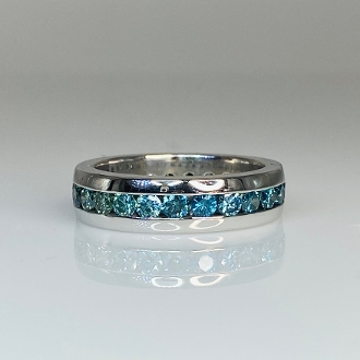 14 Karat White Gold Blue Diamond Eternity Band