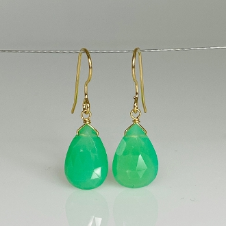 Green Chalcedony Drop Earrings 9x14mm