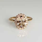 14K Rose Gold Morganite Diamond Ring 1.53ct/0.25ct