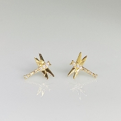 14K Yellow Gold Diamond Dragonfly Earrings 0.07ct