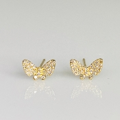 14 Karat Yellow Gold Diamond Butterfly Earrings (0.15ct)