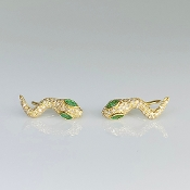 14K Yellow Gold Diamond Snake Climber Earrings 0.21ct/0.38ct