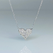 14K White Gold Diamond Heart Necklace 0.23ct