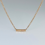 14K Rose Gold Diamond Bar Necklace 0.02ct