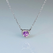 14K White Gold Pink Sapphire Diamond Heart Necklace 0.28/0.05ct