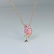 14K Rose Gold Sapphire Diamond Pink Flamingo Necklace .03/0.15ct