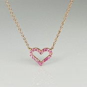 14K Rose Gold Pink Sapphire Heart Necklace 0.23ct