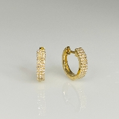 14K Yellow Gold White Diamond Huggie Earrings 0.20ct