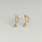 14K Rose Gold Diamond Music Note Earrings 0.07ct