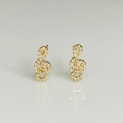 14K Yellow Gold Diamond Music Note Earrings 0.15ct