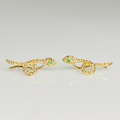 14K Yellow Gold Diamond Snake Climber Earrings 0.04ct/0.18ct