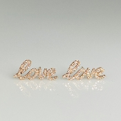 14K Rose Gold Diamond Love Earrings 0.22ct