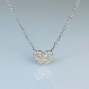 14K White Gold Diamond Heart Necklace 0.10ct