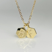 14K Yellow Gold Diamond Honeycomb Love Initials Necklace 24""