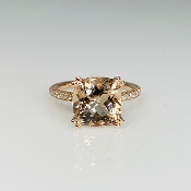 14K Rose Gold Morganite Diamond Ring 3.74/0.21ct
