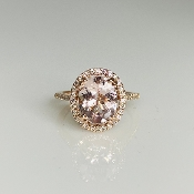14K Rose Gold Morganite Diamond Ring 2.35/0.28ct