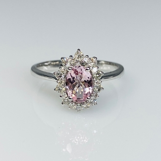 14K White Gold Morganite Diamond Ring 0.63ct/0.34ct