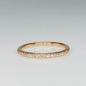 14K Rose Gold Diamond Half Eternity Band 2mm