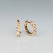 14K Rose Gold Micro Pave Diamond Huggie Earrings .20ct