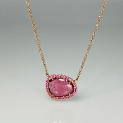 14K Rose Gold Pink Tourmaline Pink Sapphire Necklace 2.03/0.16ct
