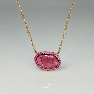 14K Rose Gold Pink Tourmaline Pink Sapphire Necklace 2.29/0.15ct