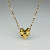 14K Yellow Gold Black Diamond Fox Necklace