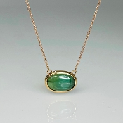 14K Rose Gold Cat's Eye Green Tourmaline Necklace