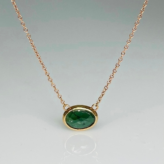 14K Rose Gold Rose Cut Green Tourmaline Necklace