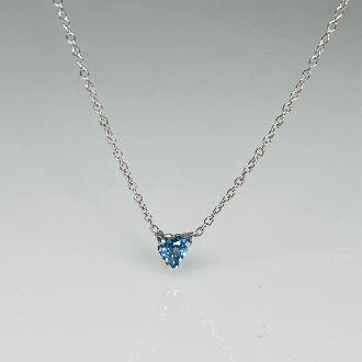 14K White Gold Blue Sapphire Heart Necklace 0.15ct