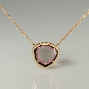 14K Rose Gold Watermelon Tourmaline Diamond Necklace 2.09/0.11ct