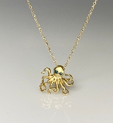 14K Yellow Gold Blue Diamond Octopus Necklace