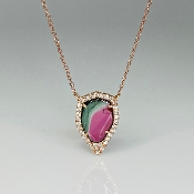14K Rose Gold Watermelon Tourmaline Dia. Necklace (2.43/0.22ct)