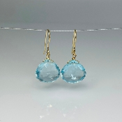 Pear Shape Sky Blue Topaz Earrings 15x15mm