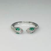 14K White Gold Two Headed Emerald Snake Ring 0.21ct/0.31ct