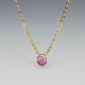 Geometric Shape Pink Tourmaline Necklace