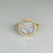 14K Yellow Gold Rainbow Moonstone Moon Face Diamond Ring 10mm