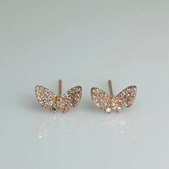 14 Karat Rose Gold Diamond Butterfly Earrings (0.15ct)