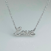 14K White Gold Diamond Love Necklace 7x15mm