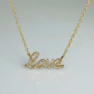 14K Yellow Gold Diamond Love Necklace 7x15mm