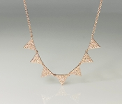 14K Rose Gold 7 Triangle Diamond Necklace 0.40ct