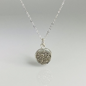 Silver Druzy Disc Necklace 11mm