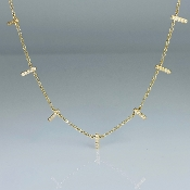 14K Yellow Gold Multi Bar Diamond Necklace 0.20ct
